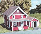 Suburban House & Hudson Garage Combo Laser-Cut Wood Kit -- N Scale Model Railroad Building -- #873