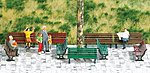 Park Benches pkg(12) -- HO Scale Model Railroad Building Accessory -- #1149