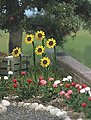 Sunflowers & Roses w/Water Pump/Trough - Kit -- HO Scale Model Railroad Grass Earth -- #1232