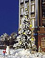 Christmas Tree - w/7 Yellow Lights & Snowman -- HO Scale Model Railroad Tree -- #5409