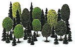 Deciduous/Pine Assortment - pkg(35) -- HO Scale Model Railroad Tree -- #6490
