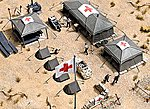 Field Hospital - Kit (Plastic, Laser-Cut Wood) -- HO Scale Model Railroad Building -- #9605