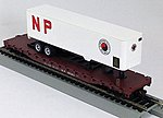 54' Flatcar with Trailer Northern Pacific -- HO Scale Model Train Freight Car -- #9427