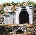 Double-Track Concrete Tunnel Portal -- HO Scale Model Railroad Scenery -- #8330