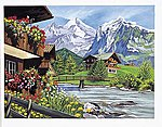 Mountain Chalets Acrylic Paint by Number 11.5''x15.5'' -- Paint By Number Kit -- #15243