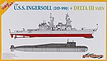 USS Ingersoll (DD 990) vs Delta III SSBN -- Plastic Model Destroyer Kit -- 1/700 Scale -- #7114