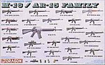 M-16/AR-15 Family -- Plastic Model Military Weapons Kit -- 1/35 Scale -- #3801