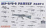 MP-5/G-3 Family -- Plastic Model Military Weapons -- 1/35 Scale -- #3803