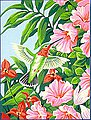 Hummingbird & Fuchsia Flowers -- Paint By Number Kit -- #91310