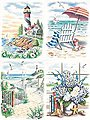 Beach Scenes Variety (4 Pack) -- Pencil by Number Kit -- #91331