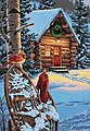 Cardinals & Cabin (Winter Scene) -- Paint By Number Kit -- #91397