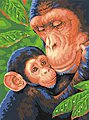 Chimp & Baby -- Paint By Number Kit -- #91470
