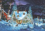 Winter's Hush (House, Night/Snow Scene Paint by Number (20''x14'')