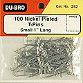 T-Pins, Nickel Plated, 1'' (100)