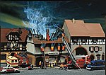 Burnt-down Zur Sonne Restaurant -- HO Scale Model Railroad Building -- #130429