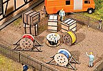 Wood Crates & Cable Reels Kit -- HO Scale Model Railroad Building Accessory -- #180617