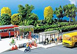 Modern Bus Stop Shelter with Bicycle Racks -- N Scale Model Railroad Building Accessory -- #272543