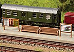 Station Platform Benches & Billboards -- N Scale Model Railroad Scenery -- #272904