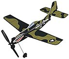 11'' Wingspan Curtiss P40 Rubber Band Pwd Wood Glider Kit