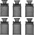 Milk Cans pkg(6) -- O Scale Model Railroad Building Accessory -- #3582