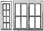 Single & Double RGS Style Depot Window (2 Sets) -- HO Scale Model Railroad Building Supply -- #5196