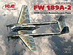 WWII German Fw189A2 Recon Aircraft -- Plastic Model Airplane Kit -- 1/72 Scale -- #72292