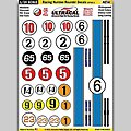 1/24 Peel & Stick Decals- Racing Number Roundel/Red Stripe Style 2 -- Slot Car Decal -- #64002