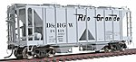 1958 Cubic Foot 2-Bay Covered Hopper w/Open Sides - Ready to Run -- Denver & Rio Grande Western - HO-Scale