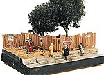 Custom Fencing w/Aging Signs -- Model Railroad Building Accessory -- HO Scale -- #305