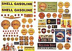 Vintage Shell Gas Station Posters/Signs -- Model Railroad Billboard -- HO Scale -- #488