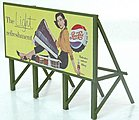 Custom Billboard 1950s Pepsi -- Model Railroad Sign -- HO Scale -- #975