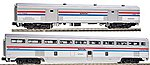 Hi-Level Step-Down Coach/73' Baggage Set - Ready to Run -- Amtrak #39919, 1241 (Phase III, silver, Equal red, white, blue Stripes) - N-Scale
