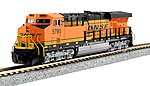 GE ES44AC GEVO - Standard DC -- BNSF Railway #5785 (orange, black, yellow, Wedge Logo) - N-Scale
