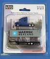 Volvo VN780 Tractor w/40' Corrugated Container on Chassis - Assembled -- Blue Tractor w/Maersk Sealand Container - N-Scale
