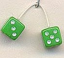 Green with White Dots Fuzzi Dice -- Plastic Model Car Accessory -- 1/24 Scale -- #d12