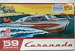 1959 Century Coronado Boat -- Plastic Model Ship Kit -- 1/25 Scale -- #hl221-12