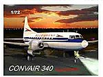 Convair 340 Pug Nose Aircraft -- Plastic Model Airplane Kit -- 1/72 Scale -- #52