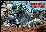 WWII US Infantry (32) w/37mm Guns (4) -- Plastic Model Military Figure -- 1/72 Scale -- #72017