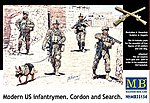 Modern US Infantry Search (4) w/Special Dog -- Plastic Model Military Figure -- 1/35 -- #35154