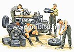 German Motorcycle & Repair Crew (4) -- Plastic Model Military Figure -- 1/35 Scale -- #3560