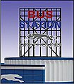 Greyhound Bus Station Animated Neon Billboard -- O Scale Model Railroad Sign -- #5681