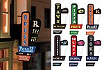 Downtown Series #1 Animated Vertical Neon Left Mount Sign -- Model Railroad Lighting Kit -- #66811