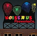 Noise ''R'' Us Fireworks Co. Medium Animated Neon Billboard Kit -- Model Railroad Accessory -- #9782