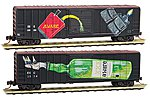 50' Boxcar Aware Weathered (2) -- N Scale Model Train Freight Car -- #2544870
