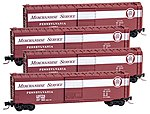 50' Std Boxcar Runner Pack Pennsylvania RR -- Z Scale Model Train Freight Car -- #99400081
