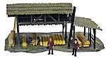 Lumber Shed with Figures Built-Up -- HO Scale Model Railroad Building -- #642