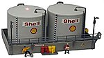 Twin Oil Tanks Built Up -- Lighted w/2 Figures
