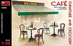 Cafe Furniture Tables/Chairs w/Accessories -- Plastic Model Diorama All Scale -- 1/35 -- #35569