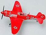 La7 #14 (Red) Russian AF Fighter WWII -- Pre-Built Plastic Model Airplane -- 1/72 Scale -- #36334
