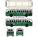 GMC TD 3610 Transit Bus - Assembled - Mini Metals(R) -- Fifth Ave. Coach Company (2-Tone Green, cream, Sign- 5th Ave/Riverside/Wash - HO-Scale